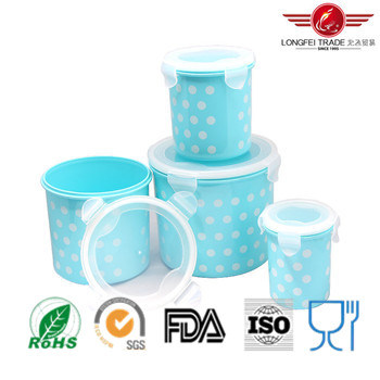 4PCS Cylindrical Plastic Food Storage Box with Airtight Lid