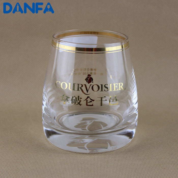 9.5oz Drinking Glass Cup (Gold Rim & Logo)
