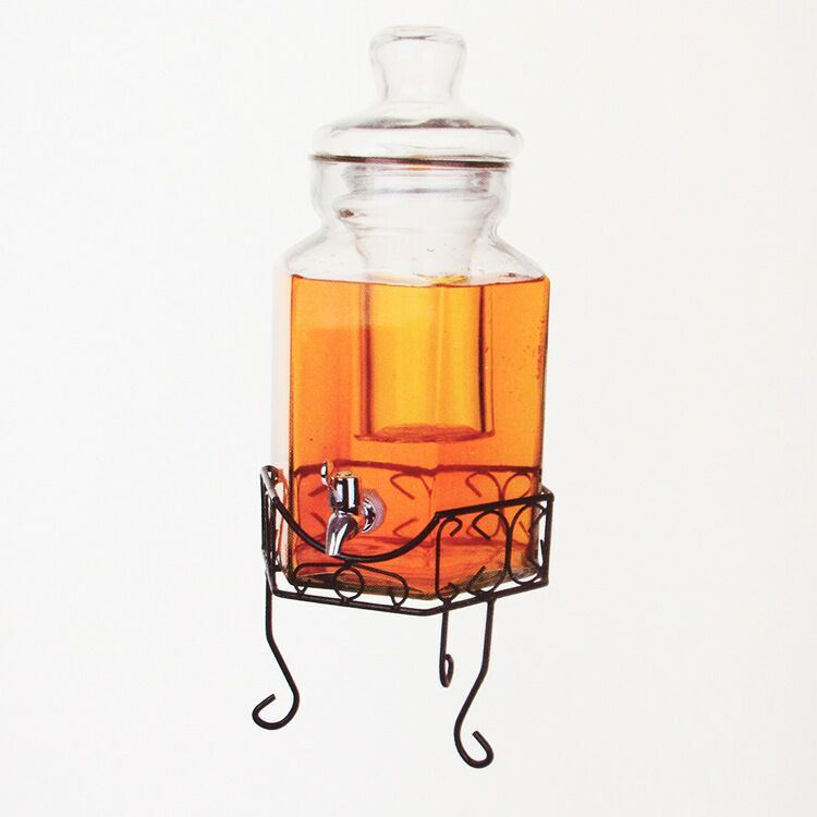 Large Glass Water Jar with Tap and Stand