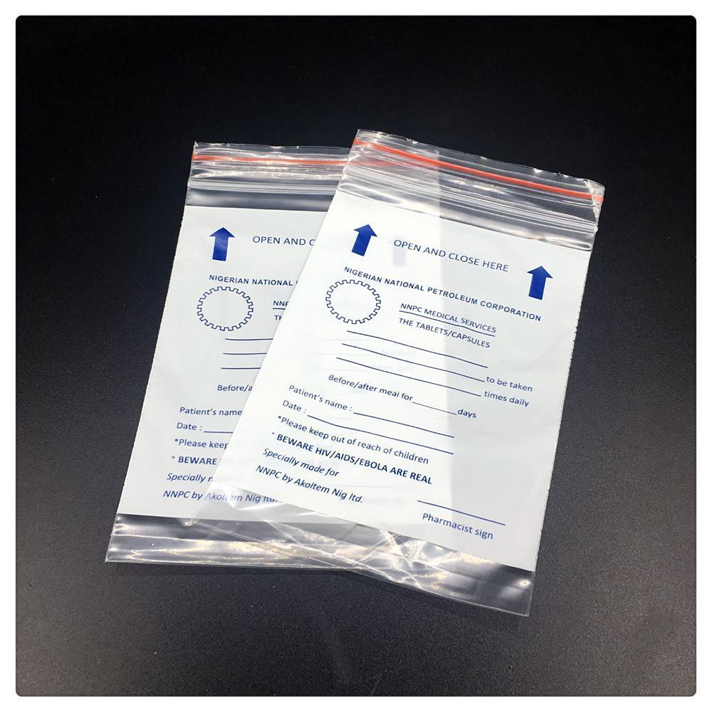 PE White Medical Zip Lock Bag for Medicine