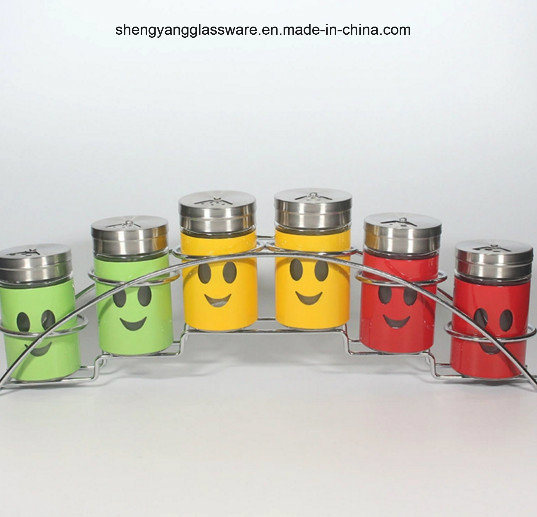 6PC Stainless Steel Wrap Glass Spice Storage Jar /Smiling Face Jar Set with Lid and Shelf