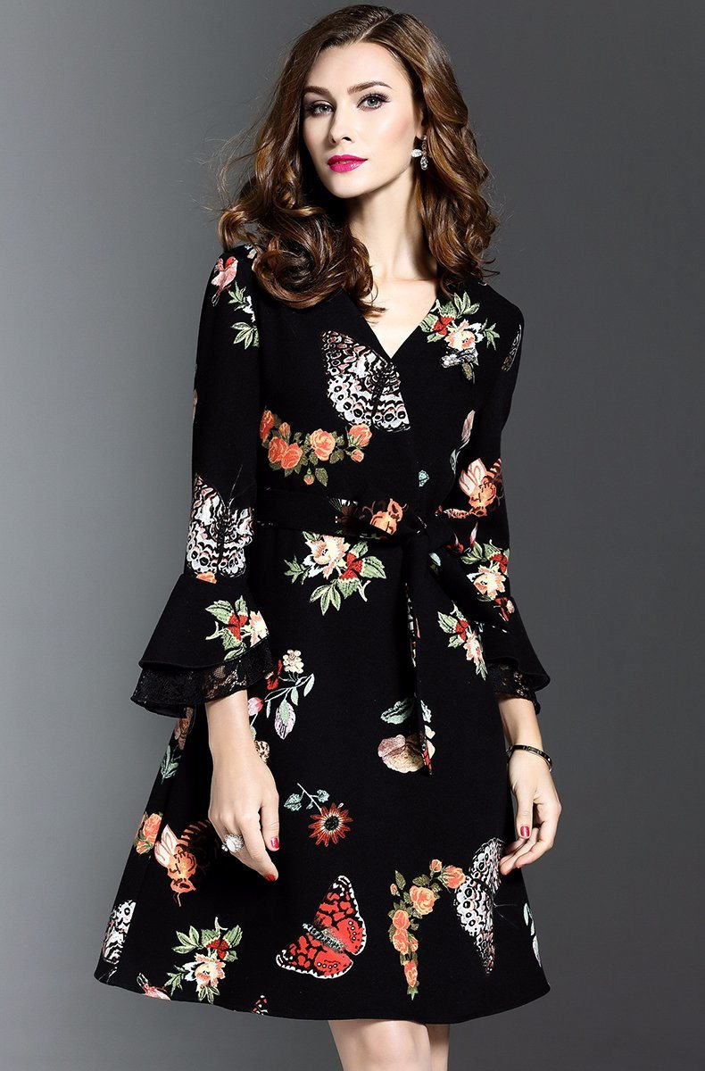Floral Western Style Lace-up Ladies Dress with Puff Sleeve