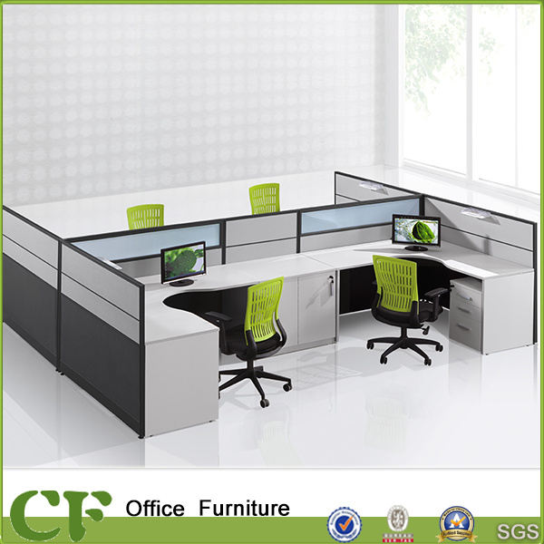 New Design L Shape Office Workstation for 4 Person