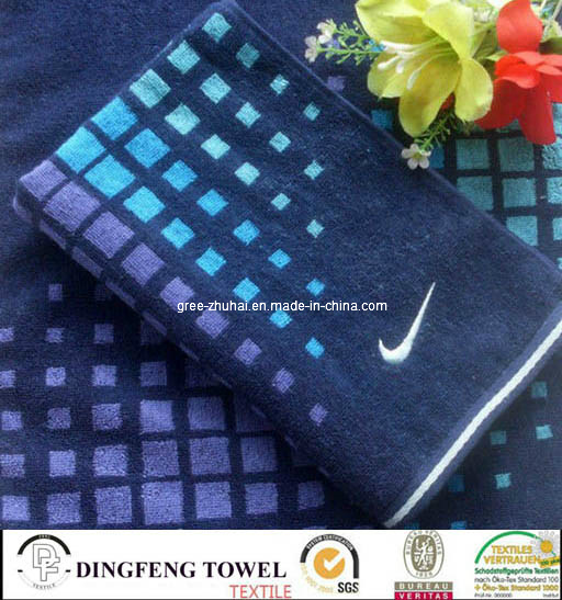 100% Cotton Velour Printed Sport Towel with Embroidery Logo