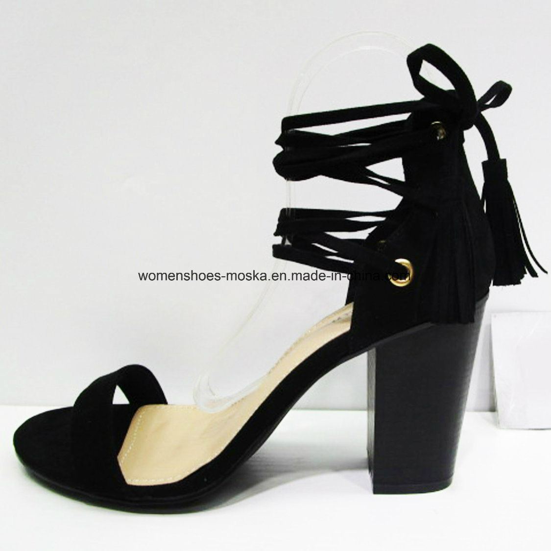 New Design Women Fashion High Heel Block Sandal with Peep Toe