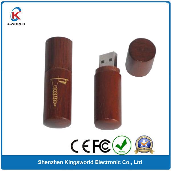 2014 Wholesale Round Wood USB Flash Memory