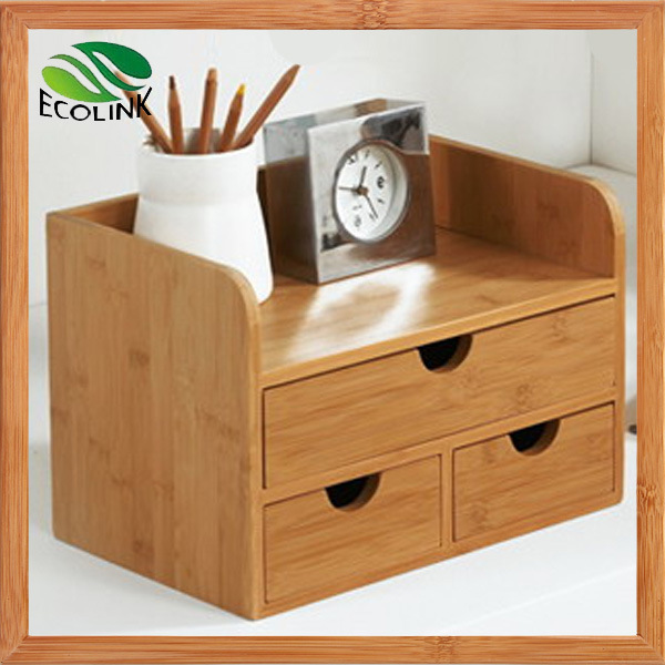 China new designer bamboo desk organizer with drawers for - Desk organizer drawers ...