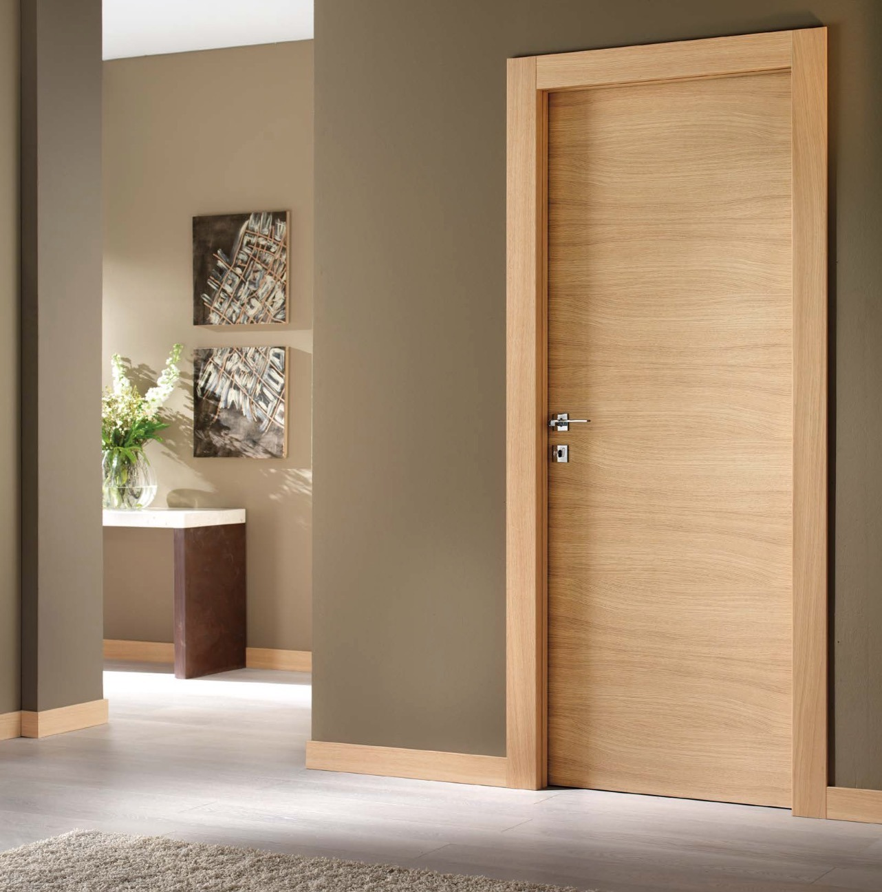 China walnut veneer flush wooden main door design china for Solid flush door