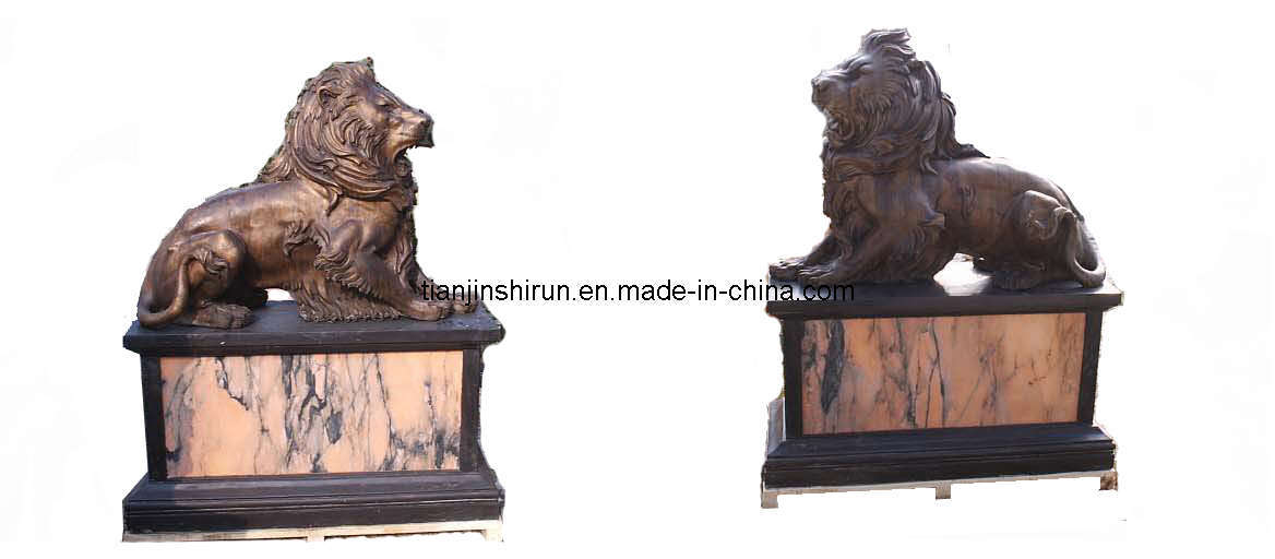 Garden Outdoor Decor Bronze Casting Lion Sculpture (SL601)