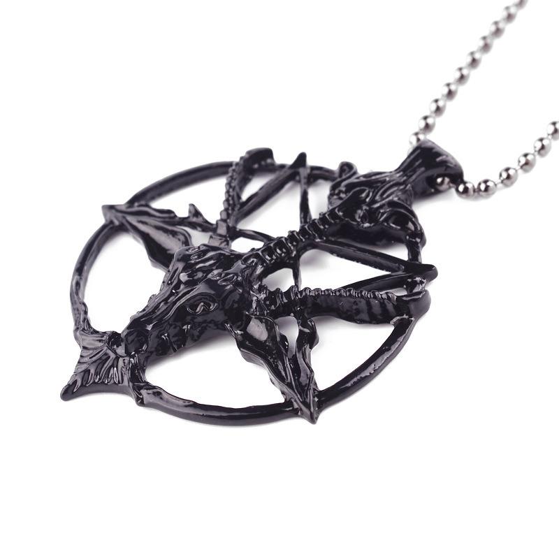 Black Satanic Goat′s Head Baphomet Pentagram Occult Pagan Satan Goth Pendant Necklace