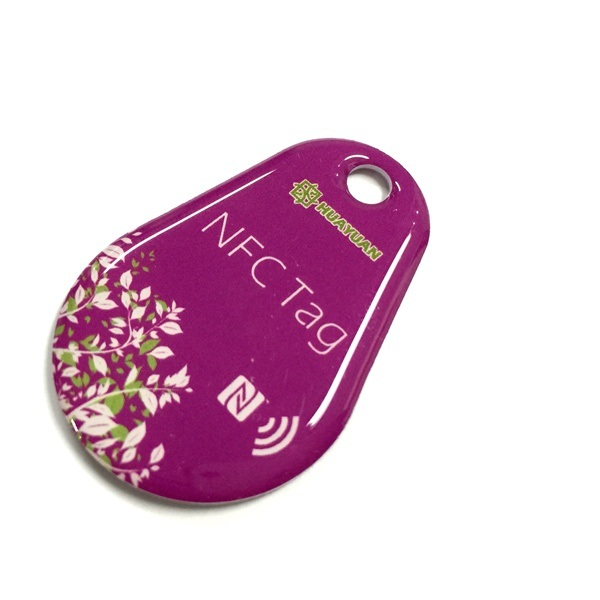 Logo printing Ntag213 RFID NFC Epoxy Keytag keychain