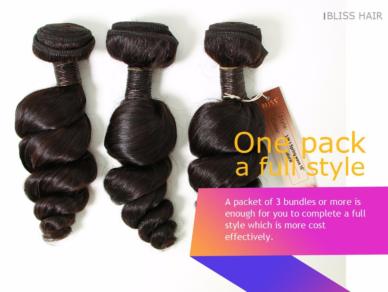 Brazilian Virgin Hair Spring Wave Natural Color 3 Pieces in One Pack