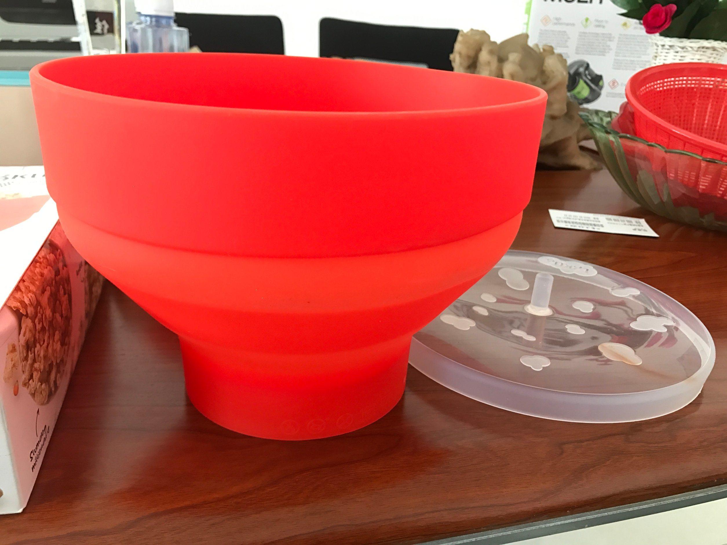 Platinum Silicone Microwave-Safe Plastic Popcorn Container Popcorn Bowl