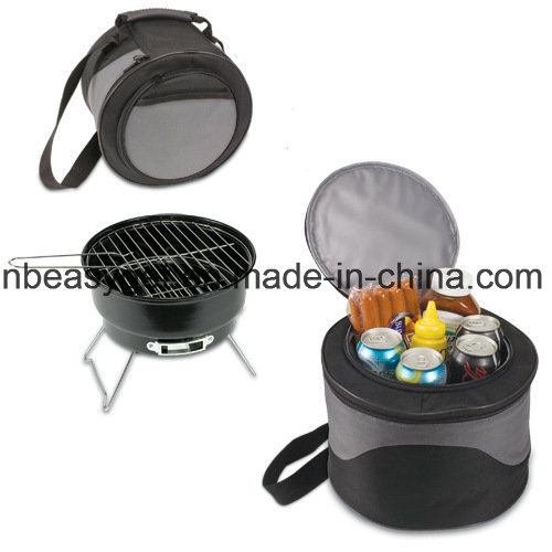 Charcoal Barbeque Mini Grill with Cooler and Carrybag Perfect for Camping and Tailgating by Moskus Gear Esg10166