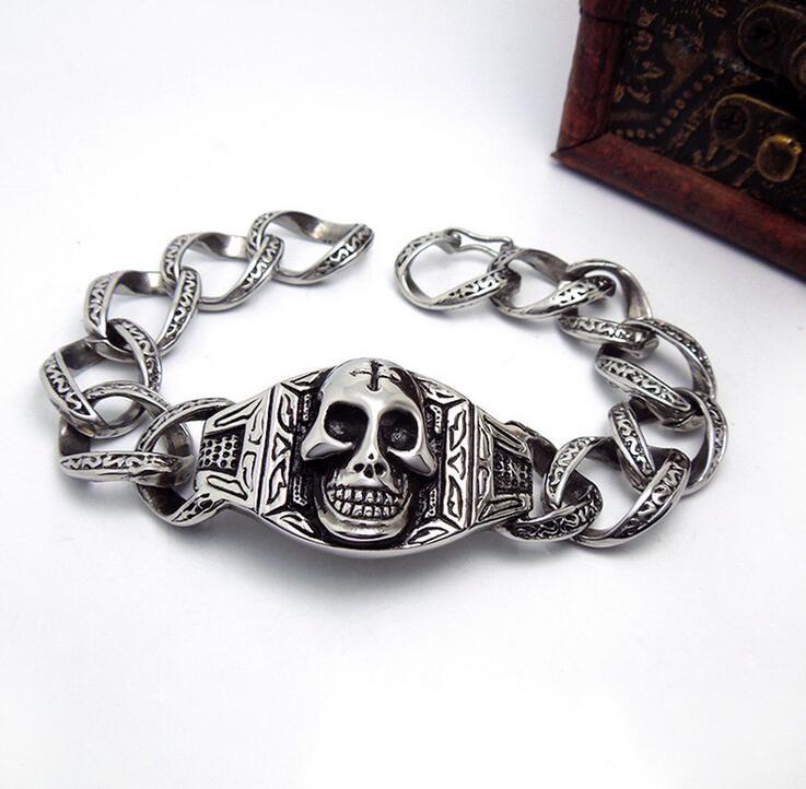 Punk Skull Men Bracelets Star Fashion Titanium Steel Jewelry
