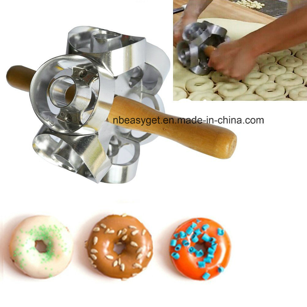 Rollving Heavy Duty Metal Donut Cutter Mold Doughnut Maker Tool Cutting Donut Maker Cutter Mold Fondant Cake Bread Desserts Bakery Mould Home Baking Esg10156