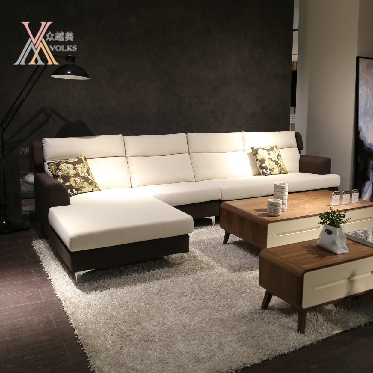 Modern Fabric Leisure Sofa Set with Corner (998A)