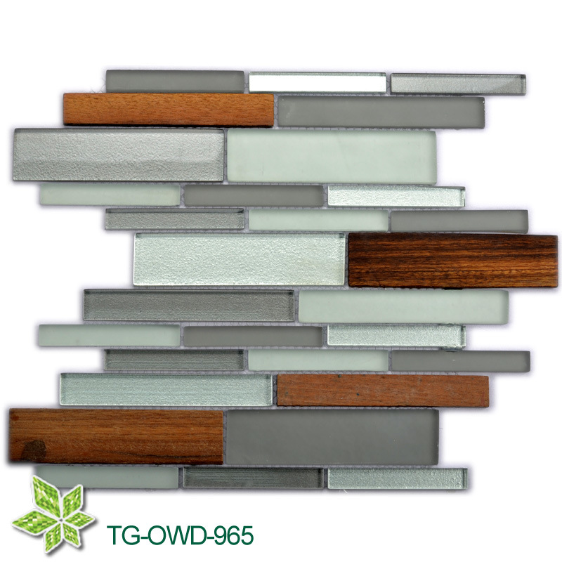 Glass Mixed Wood Mosaic (TG-OWD-965)