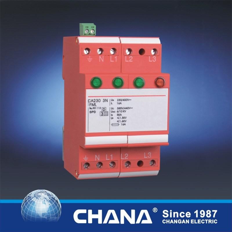 3phase SPD 10ka Modular Arrester Red Lighting Surge Protective Device