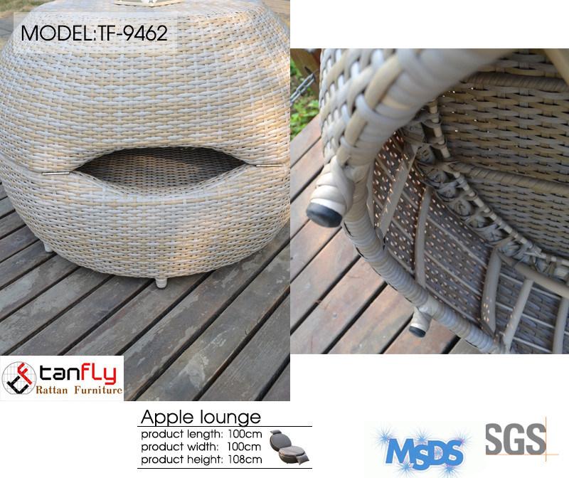 Top Sale Outdoor Patio Rattan Wicker Apple Shape Sun Bed