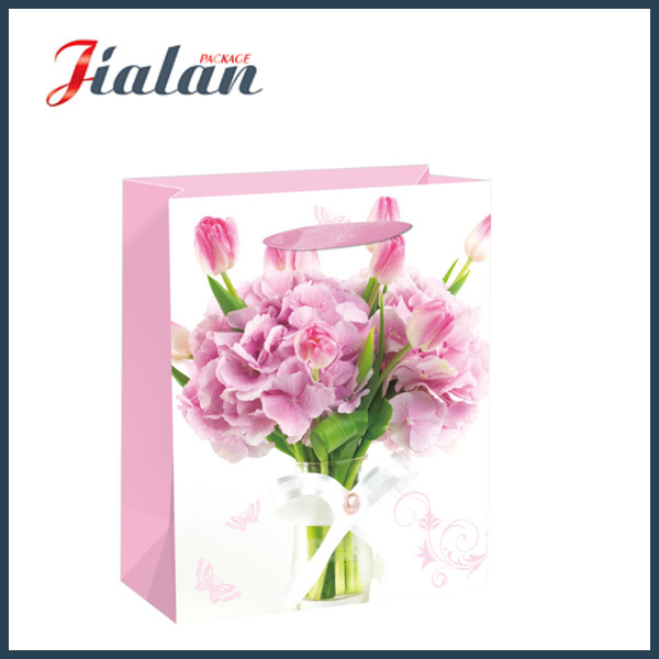 Gloss or Matt Laminated with Flowers Paper Carrier Gift Bag