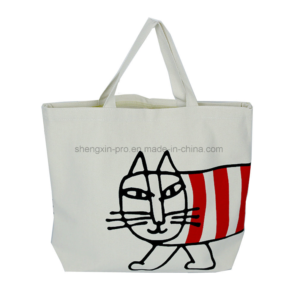 Fashion Canvas Tote Bag with Simple Logo Printing