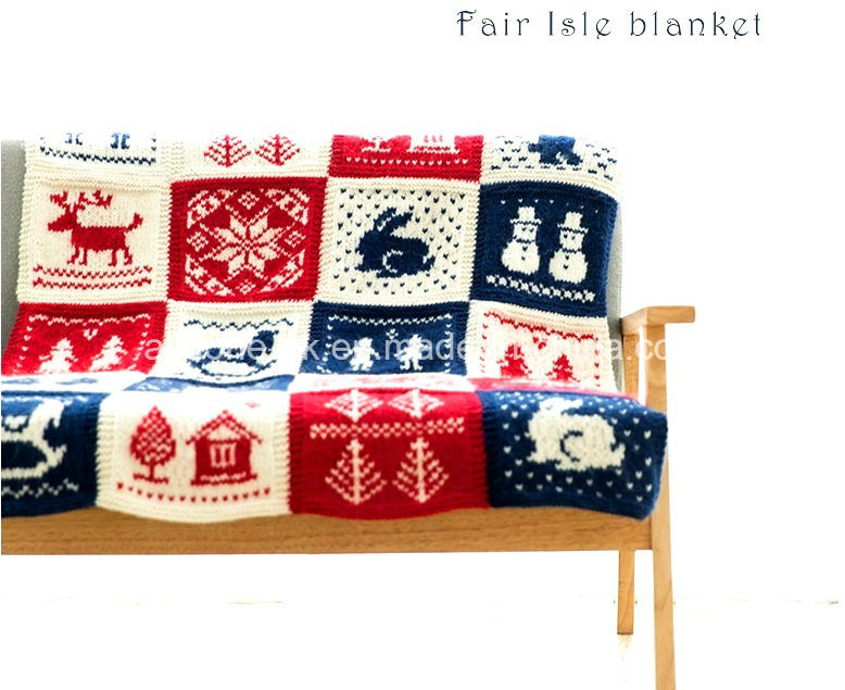 China Classic Handmade Hand Knit Blanket Wool Throw Fair Isle ...