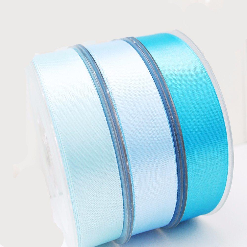 Discount Ribbon 1 Inch 25mm Sky Blue Woven 100% Polyester Silk Satin Celebrate It Ribbon