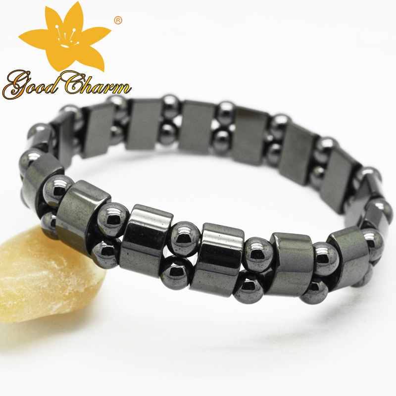 Htb-005 Fashion Jewelry Magnetic Double Orifice Semicircle Haematite Bracelet