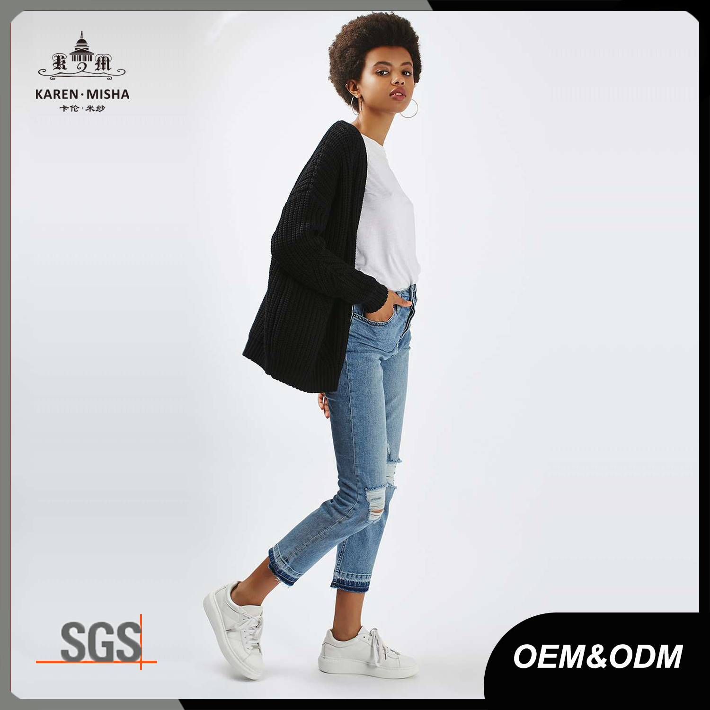Black Oversized Womens Cotton Open Knit Cardigan Sweater