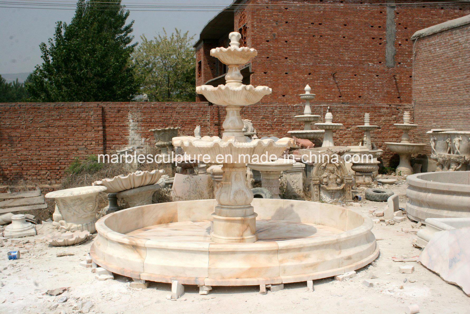 Three Tier Home Garden Marble Water Fountain for Sale (SY-F105)