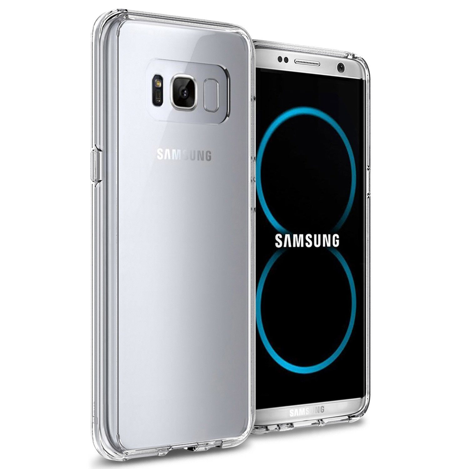 Hard Clear Back Cover with Flexible TPU Bumpers Slim Fit Phone Cover Case for Samsung Galaxy S8