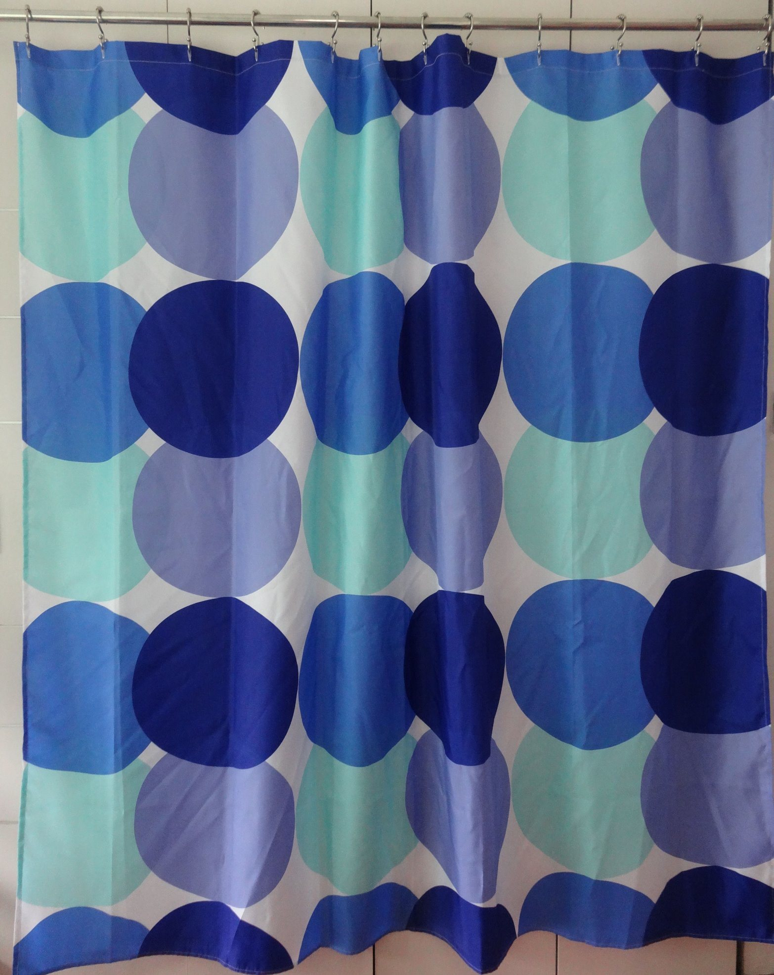 Blue Dots Eco-Friendly Water Resistent Polyester Fabric Shower Curtain