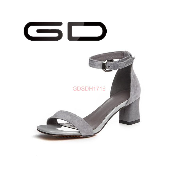 Factory Supply Simple Style Handmade Leather Sandals High Heel