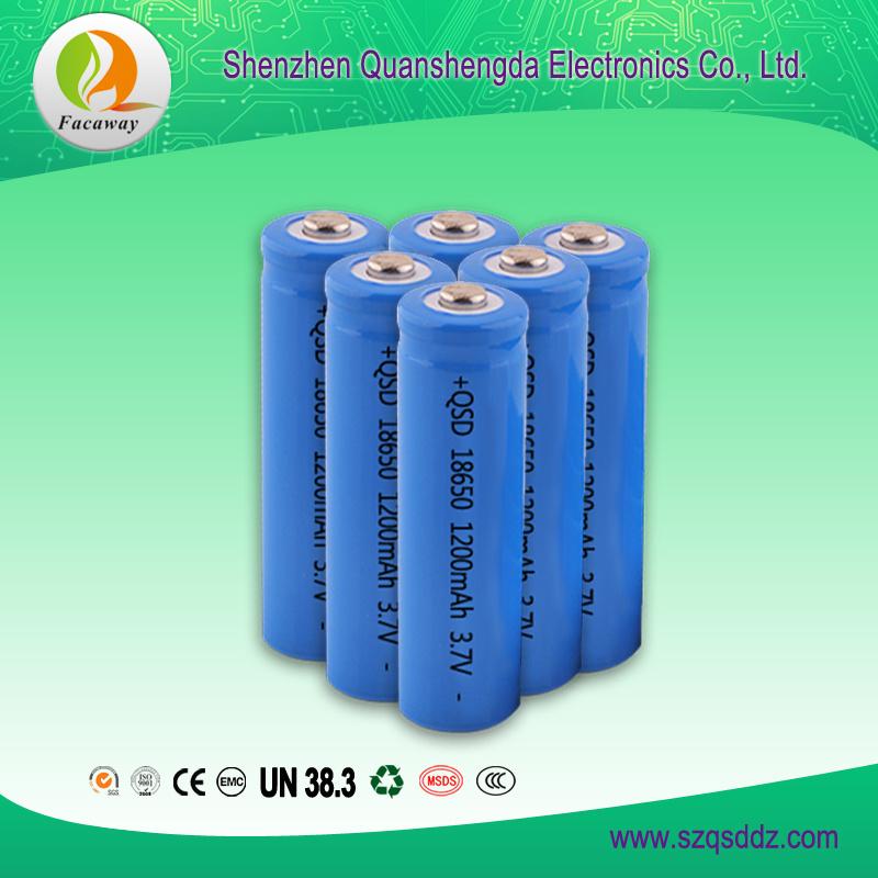 (QSD-3712) 3.7V 1200mAh 18650 Rechargeable Li-ion Battery