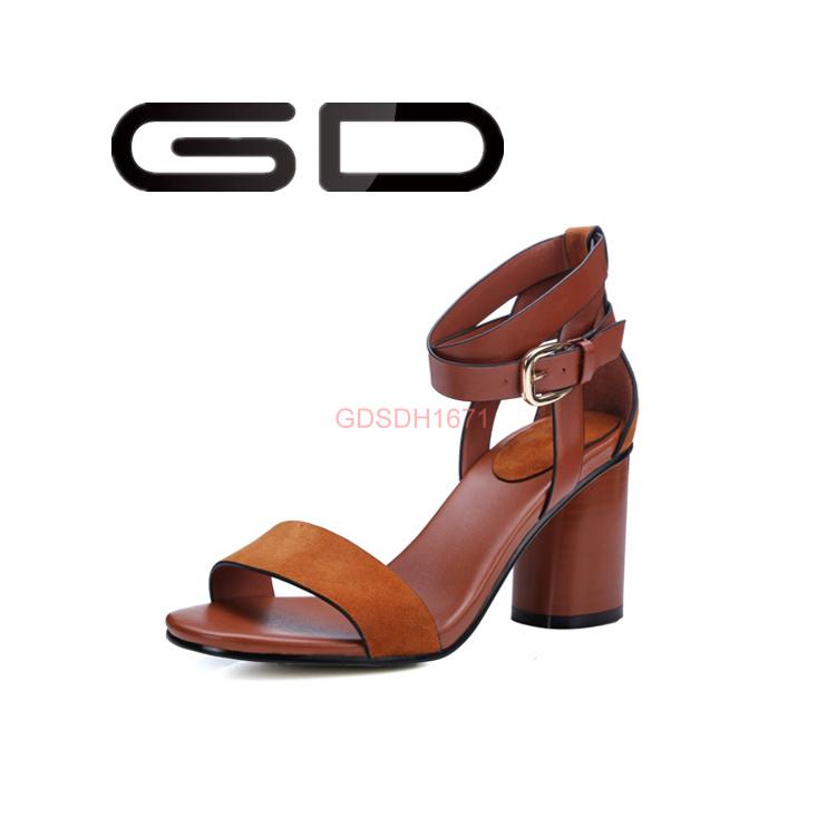 Custom Ladies Popular Big Size Leather High Heel Sandals