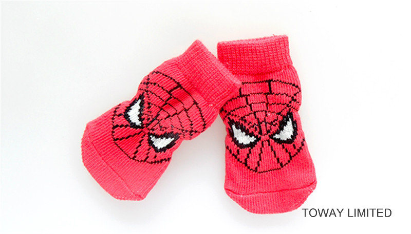 Customize Dog Products Spiderman Knitting Anti-Slip Pet Socks