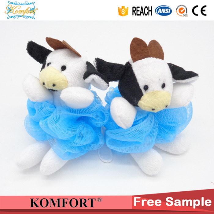 Klb-103 Shower Puff Wholesale Cow Toy Bath Sponge PE Mesh Bath Ball
