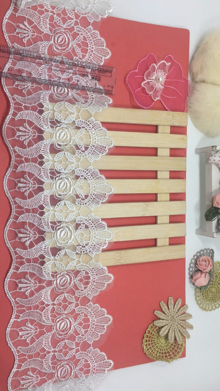 New Design 12cm Width Polyester Embroidery Trimming Net Lace Mesh Lace for Garments & Home Textiles & Curtains