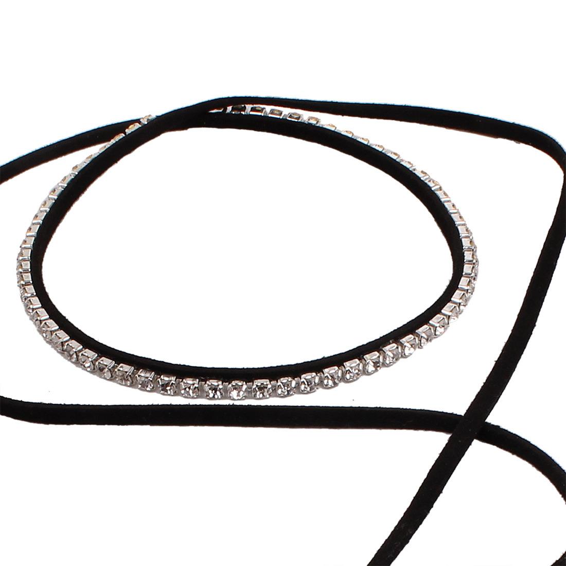 Fashion PU Leather Diamond Rhinestone Crystal Choker Necklace Jewelry
