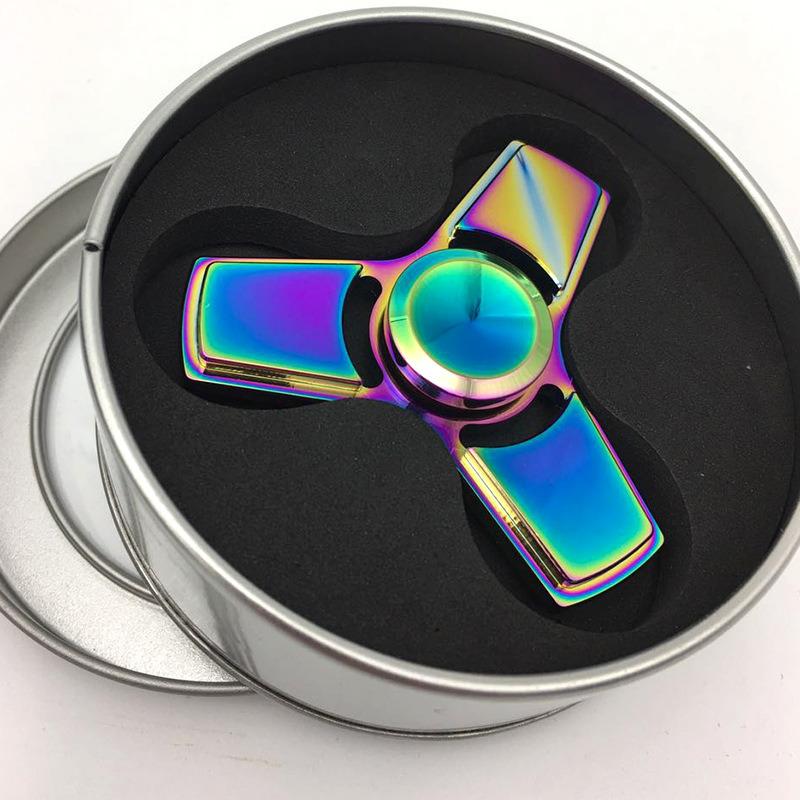 Tri-Spinner Fidget Toys Pattern Hand Spinner Metal Fidget Spinner