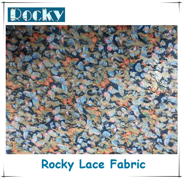 Home Textile Fashion Polyester Lace Print Lace Fabric