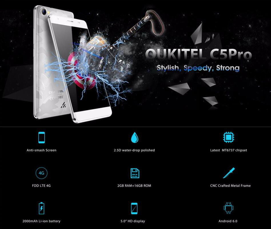 "4G FDD Android Smart Phone Oukitel C5 PRO 5.0"" Smartphone"