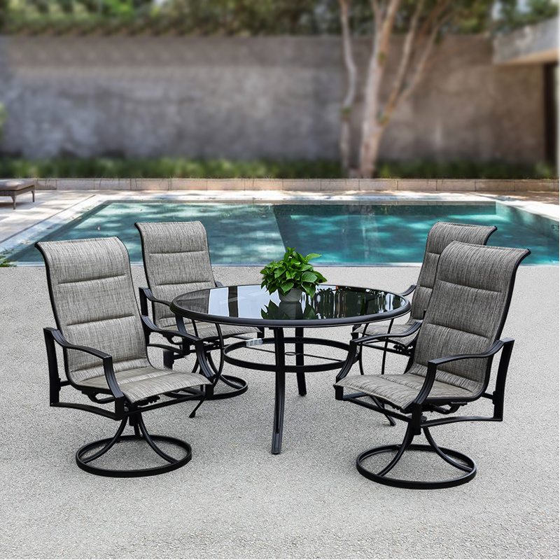 Patio Outdoor Furniture Aluminum Textilene Chair Water Lines Glass Table (J802)