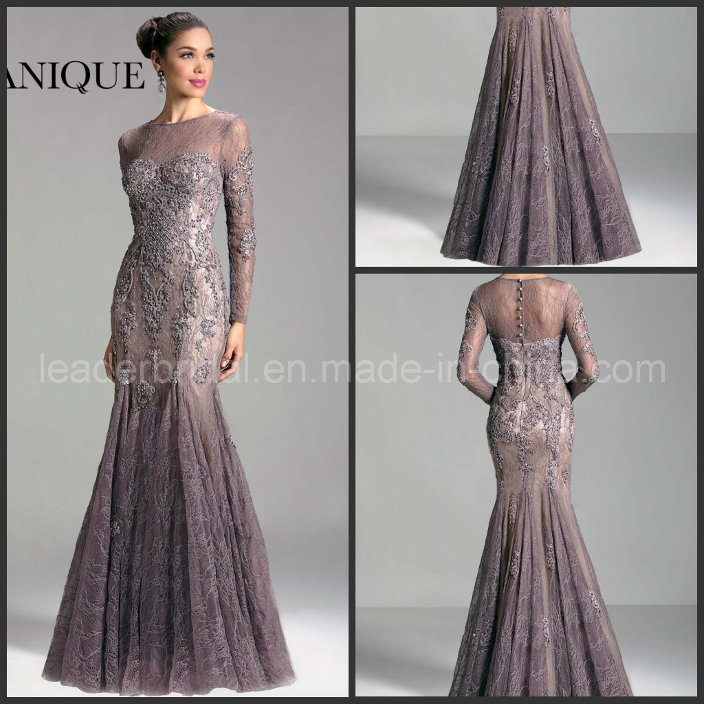 China Full Sleeves Sheer Neck Purple Lace Janique Evening Dresses ...
