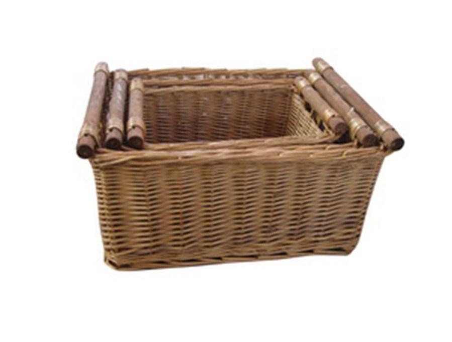 Wicker Storage Baskets With Handles : China storage wicker baskets with wood handle