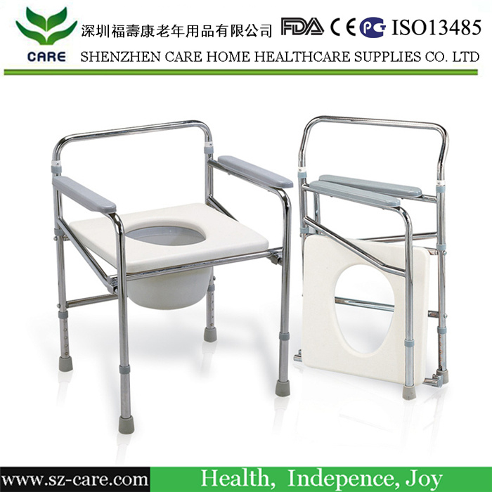 Stainless Steel Commode Chair with Footrest