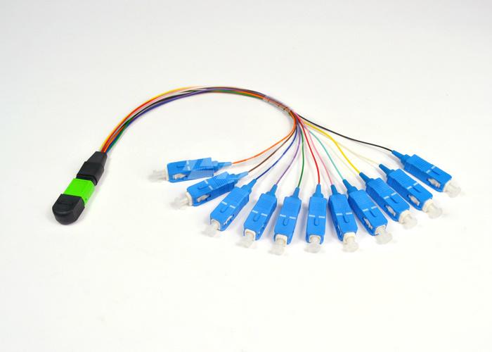 Blue MPO FTTX Fiber Optic Patch Cord with Ceramic Ferrules