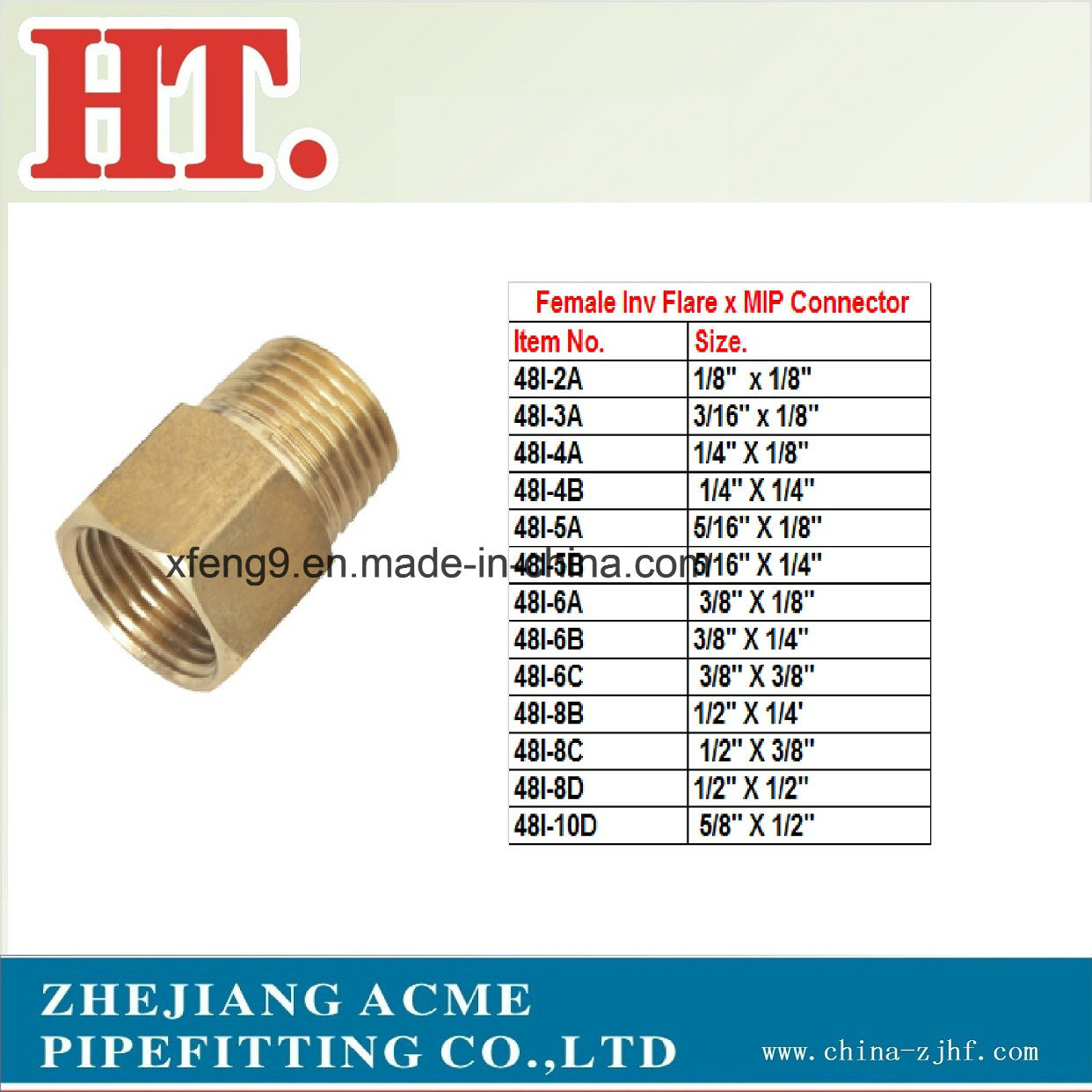 American Brass Female Inv Flare X Mip Connector Fitting