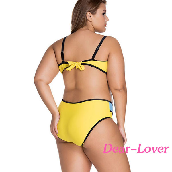 Colorful Vibrant Colorblock Plus Size Swimsuit